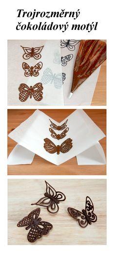 Vyrobte si pro ozdobení vašeho dortu nebo dezertu trojrozměrného čokoládového motýla s křídly jako z krajky. Na webové stránce najdete detailní popis a užitečné komentáře, které vás provedou jejich zdárnou výrobou.