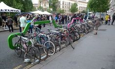Bike parking.  How many bikes can you fit into two parking spaces?