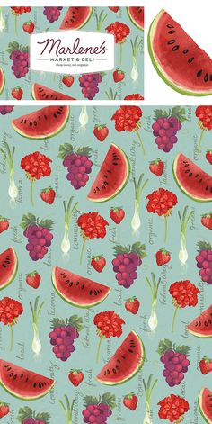 Fruit, vegetable and flower icons produced for the re-branding of Marlene's Deli and Organic Market in Tacoma USA