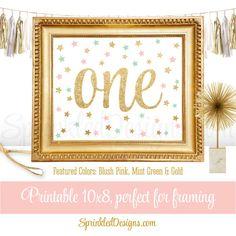 First Birthday Party Sign - Big One 1 - Blush Pink Mint Gold Glitter Twinkle Little Star - Printable Girl Birthday Party Decorations - 8x10
