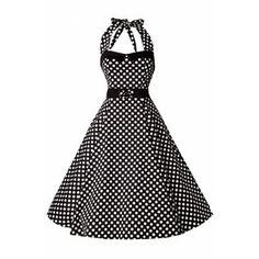Collectif Clothing 50s Stella Sweetheart Doll Black White Polka Dot swing dress