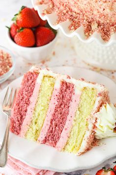 Strawberry Buttercream, Vanilla Buttercream, Strawberry Ice Cream Cake, Strawberry Cakes, Strawberry Recipes, Buttercream Frosting, Icing, Smooth Cake, Freeze Dried Strawberries
