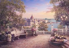 Evening walk in Budapest by NM-art Fantasy City, Fantasy Castle, Fantasy Places, Fantasy World, Episode Interactive Backgrounds, Episode Backgrounds, Scenery Background, Fantasy Background, Castle Background