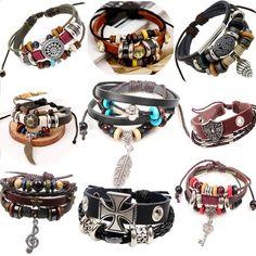 Retro leather mens bracelets Jewelry