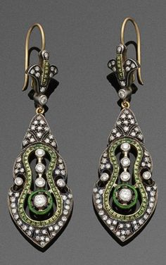 A pair of Art Nouveau gold, enamel and diamond earrings, Russian, circa 1900. #ArtNouveau #earrings