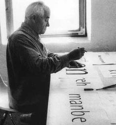 Otl Aicher, Germany May 13 1922 - Sept 1, 1991.  1949–54: one of the initiators and founder members of the Hochschule für Gestaltung in Ulm. 1954–66: lecturer in the department of visual communication. 1956-59: member od the board of governors. 1967: design studio in Munich. 1967–72: ..design for the Olympic Games in Munich. Develops an internationally conventional system of pictograms. 1972: moves his studio to Rotis in the Allgäu region of Germany…