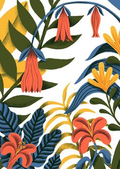 Cute floral illustration Botanica by Tatiana Boyko Art And Illustration, Illustration Agency, Illustration Inspiration, Floral Illustrations, Pattern Illustration, Graphic Design Illustration, Motif Tropical, Tropical Pattern, Tropical Vibes