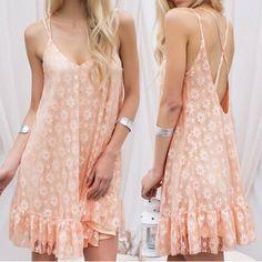 Spaghetti Strap Sleeveless Backless Flounced Lace Women's Dress