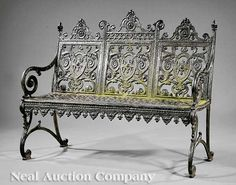 Garden Benches (2); Hinderer's Iron Works, Cast Iron, Scroll Crests, Reticulated Seat, S-Form Legs.