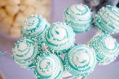 Teal swirl cake pops