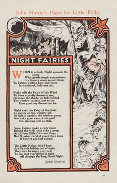 Vintage Print Night Fairies Poem John Martin's Pages for Little Folk fae faery. $8.00, via Etsy.