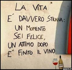 ***********Life is really strange, a moment you're happy, a moment later the wine is finished Gruseliger Clown, Italian Lessons, Italian Quotes, Italian Language, Learning Italian, In Vino Veritas, Sarcastic Quotes, Funny Images, Funny Jokes