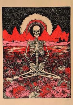 Skeleton & flowers red & pink poster 60's art