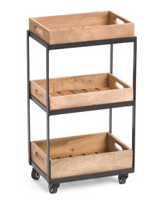 Made+In+India+Wood+Tray+Cart