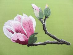 The Best Stitches In Embroidery - Embroidery Patterns Hand Embroidery Flowers, Hand Embroidery Patterns, Embroidered Flowers, Embroidery Designs, Embroidery Needles, Crewel Embroidery, Thread Painting, Magnolia Flower, Embroidery Techniques