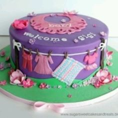 Sugar Sweet Cakes and Treats: Clothing Line Baby Shower Cake Torta Baby Shower, Sweet Cakes, Cute Cakes, Cake Decorating Tutorials, Cookie Decorating, Decorating Ideas, Beautiful Cakes, Amazing Cakes, Baby Shower Announcement