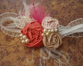 Shabby Chic Headband, Kids Accessory, Red and White Flower Headband, Children Hair Accessory, Photo Prop,
