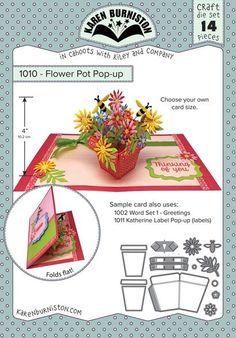 Karen Burniston Flower Pot Pop-Up Die 1010 - Karen Burniston - HixxySoft Pop Up Flower Cards, Pop Up Flowers, Pop Up Box Cards, Fun Fold Cards, Folded Cards, Diy Cards, Kirigami, Pop Up Karten, Poppy Cards