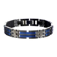 AVALANCHE BRACELET Mens Metallic Blue and Black Steel Link Bracelet