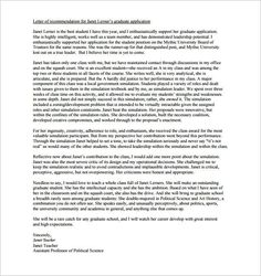 samples letter of recommendation for graduate school from a