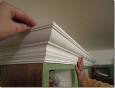 Cabinet Molding - Ideas for giving my builder grade cabinets a facelift. Home Projects, Kitchen Cabinet Crown Molding, Cabinet Molding, Kitchen Remodel, Moldings And Trim, Home Diy, Update Kitchen Cabinets, Diy Kitchen, Cabinets With Crown Molding