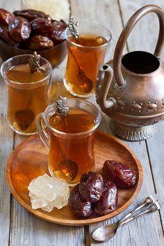 Arabic tea and dates (Speleolog) Tags: food brown black cup glass fruit dessert . Coffee Time, Tea Time, Arabic Tea, Arabic Coffee, Tea Recipes, Healthy Recipes, Chai Tee, Tea Culture, Arabic Sweets