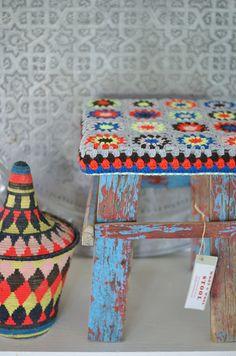 Funky Retro style ~ Recycle wood & crochet wool