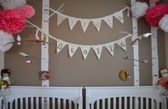 trees, wall color, poms, bunting