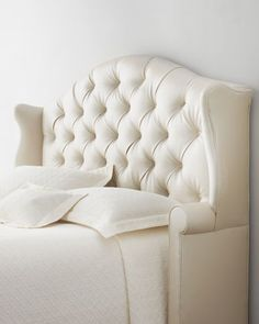 """It's like a chair you can lay down in!!  LOVE!! """"Devona"""" Tufted Headboard at Horchow."""