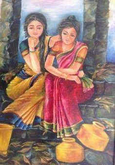 Indian Artwork, Exotic Art, Couple Art, Art Girl, Painting, Painting Art, Paintings, Painted Canvas, Drawings