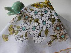 Bloomin Vintage Yellow White and Aqua Daisy Handkerchief via Etsy
