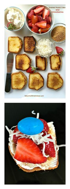 Toasted Pound Cake and Strawberries - last minute, pick up ingredients at the store! #Easter #Entertaining #Dessert