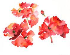 Red Flowers Watercolor Print