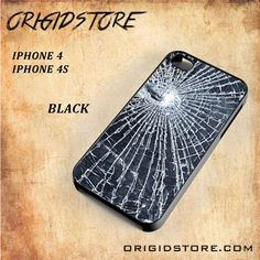 Web of Broken Glass Snap On Black White 3D For Iphone 4/4S Case