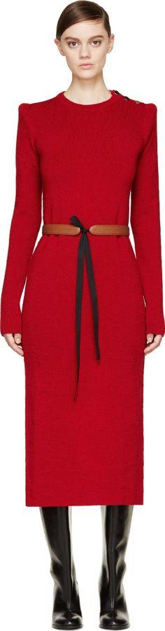 Maison Martin Margiela Red Wool Knit Long Split Skirt Dress