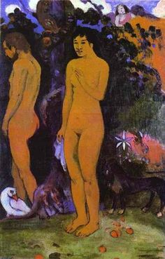 Adam and Eve, 1902 by Paul Gauguin, 2nd Tahiti period. Post-Impressionism. allegorical painting. Art Museum Ordrupgard, Copenhagen, Denmark