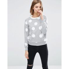 ASOS Sweatshirt In Spot Print With Contrast Tipping (30 NZD) ❤ liked on Polyvore featuring tops, hoodies, sweatshirts, grey, fitted tops, crew-neck sweatshirts, asos sweatshirt, crew neck sweatshirts and grey top