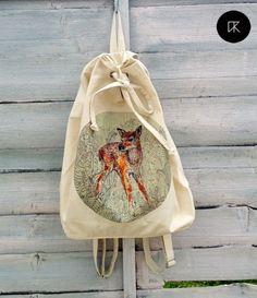 akcesoria - torby i nerki - unisex-jelonek II worek #backpack #handmadebackpack #rucksack #handmade #handmadelover #deer #deers #deeraccessories #deerprint