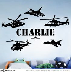 CUSTOM NAME ARMY Helicopter Fighter Jet Wall by sticktakstickers, $27.95