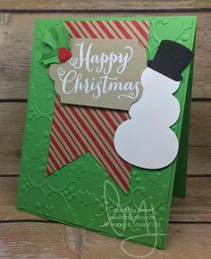Still in need of ideas for those last minutes holiday cards? #ohwhatfun #stampinup #literallymyjoy #papercrafting #cardmaking #stampinupdemonstrator #christmas #holiday #snowman #heatembossing #hollyberry #2016HolidayCatalog #20162017AnnualCatalog #linkinprofile