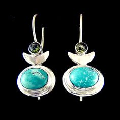 Turquoise & Peridot Silver Loop Earrings -  22mm http://www.crystalage.com/online_store/turquoise-and-silver-gemstone-earrings-star-7mm.cfm