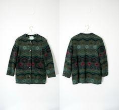 Vintage jacket / green Saint Andre blanket / size L via Etsy