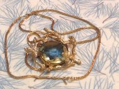 Vintage Monet Shimmering Glass Pendant by FancyThatBlingCo on Etsy