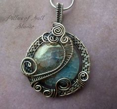 Antiqued silver pendant, aqua agate gemstone and sterling silver filled wire, wire wrapped jewelry handmade by PillarOfSaltStudio