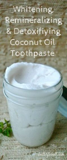 An easy organic peppermint and coconut oil toothpaste your whole family will love. Click to visit the ButterForAll blog and get the recipe.