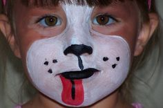 How to paint a dog face - really cute for kids! http://ajreports.com/facepainting  #halloween #facepainting