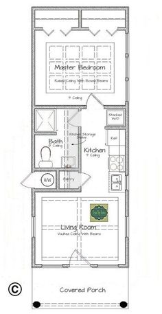 This is Texas Tiny Homes latest plan design, which is ideal for single persons, young couples, or retired couples looking for an inexpensive. # home plane small houses, Plan 408 Tiny House Cabin, Tiny House Living, Tiny House On Wheels, Tiny House Design, Small Living, Home Design Plans, Plan Design, Small House Floor Plans, Tiny Spaces