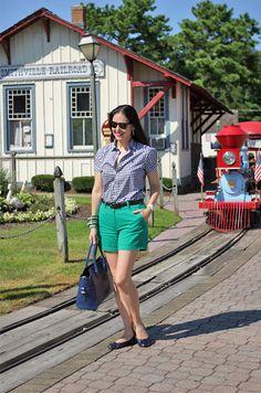 September 20, 2012  http://www.akeytothearmoire.com/post/31919184662/smithville-fairytale-town  #gingham #blue #navy #green #kelly green #Thomas Charlie #Smithville, NJ #Ralph Lauren #Alberta di Canio #Bakelite #Ivory #Ballerina Flats #Shorts