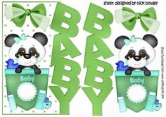 Cute Baby Pocket panda green over the edge card with bow, makes a cute card for baby, can be seen in other colours
