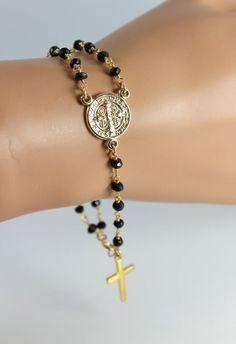 Rosary Bracelet Black Spinel Gemstone Saint Benedict Gold Filled Women Men Custom Bracelets Rosaries Jewelry